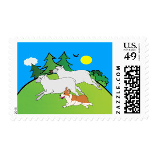 Pembroke Welsh Corgi Herding Sheep Stamp