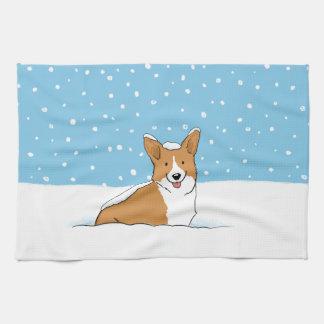 Pembroke Welsh Corgi - Holiday Snow Dog Kitchen Towels