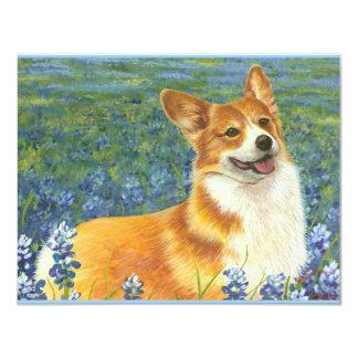 Pembroke Welsh Corgi in Texas Bluebonnets Card
