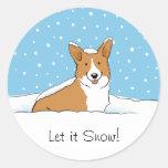 Pembroke Welsh Corgi Let it Snow - Fun Dog Holiday Classic Round Sticker