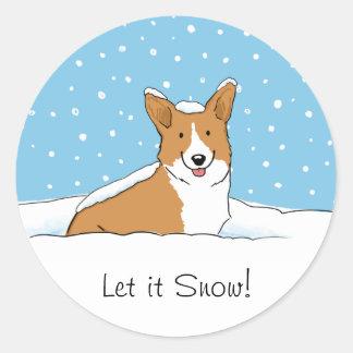 Pembroke Welsh Corgi Let it Snow - Fun Dog Holiday Round Sticker