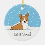 Pembroke Welsh Corgi Let it Snow - Holiday Dog Ornament
