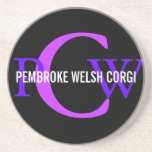 Pembroke Welsh Corgi Monogram Design Drink Coaster