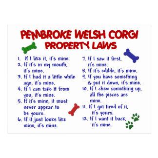 PEMBROKE WELSH CORGI Property Laws 2 Postcard