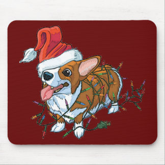 Pembroke Welsh Corgi Puppy Christmas Xmas Lights Mouse Pad