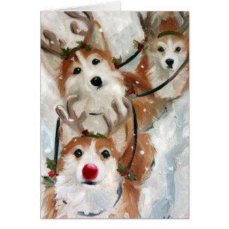 Pembroke Welsh Corgi Rudolph Christmas Reindeer Greeting Card