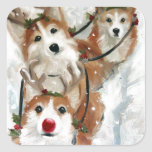 pembroke welsh Corgi Rudolph Christmas Reindeer Square Stickers