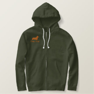 Pembroke Welsh Corgi Silhouette with Optional Text Embroidered Hoodie