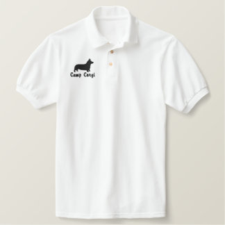 Pembroke Welsh Corgi Silhouette with Optional Text Polo Shirt