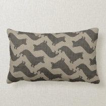 Pembroke Welsh Corgi Silhouettes Pattern Burlap Lumbar Pillow