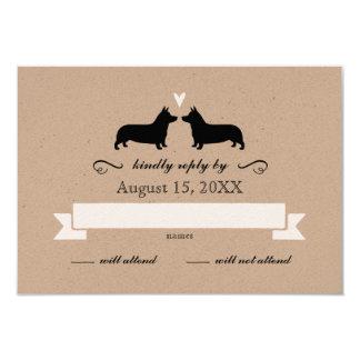 Pembroke Welsh Corgi Silhouettes Wedding RSVP Card
