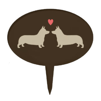 Pembroke Welsh Corgi Silhouettes with Heart Cake Toppers