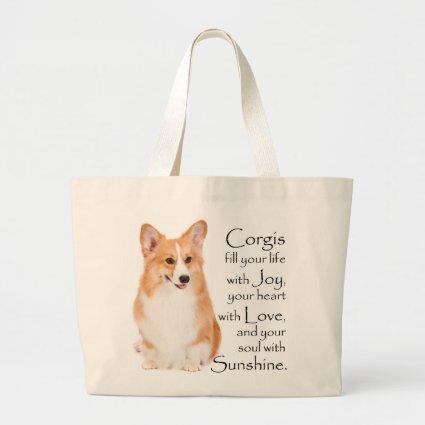 Pembroke Welsh Corgi Tote Jumbo Tote Bag