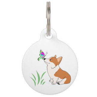 Pembroke Welsh Corgi with Butterfly Pet Name Tags