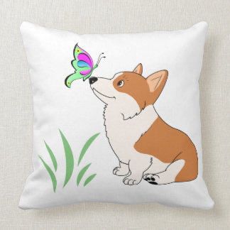 Pembroke Welsh Corgi with Butterfly Pillow