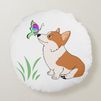Pembroke Welsh Corgi with Butterfly Round Pillow