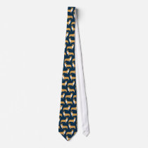 Pembroke Welsh Corgis Dog Pattern on Blue Tie
