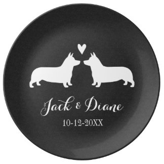 Pembroke Welsh Corgis Wedding Couple with Text Plate