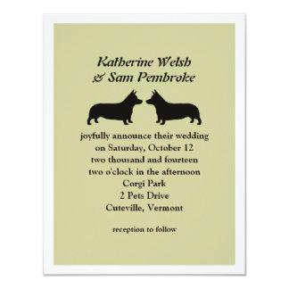 "Pembroke Welsh Corgis Wedding Invitation 4.25"" X 5.5"" Invitation Card"