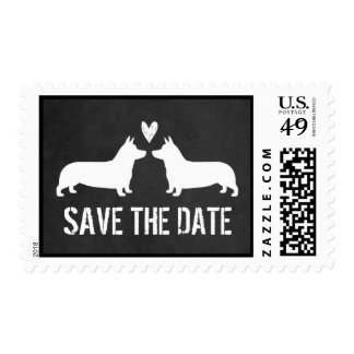 Pembroke Welsh Corgis Wedding Save the Date Postage