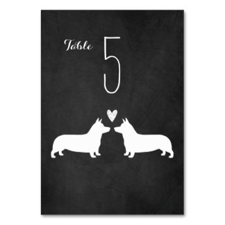 Pembroke Welsh Corgis Wedding Table Card