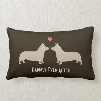 Pembroke Welsh Corgis with Heart Cute Dogs Couple Lumbar Pillow