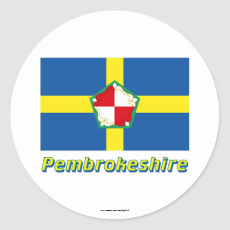 Pembrokeshire Flag with Name Classic Round Sticker