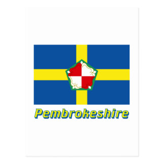 Pembrokeshire Flag with Name Postcard