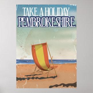 Pembrokeshire, poster BRITÁNICO del viaje del