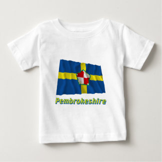 Pembrokeshire Waving Flag with Name Baby T-Shirt