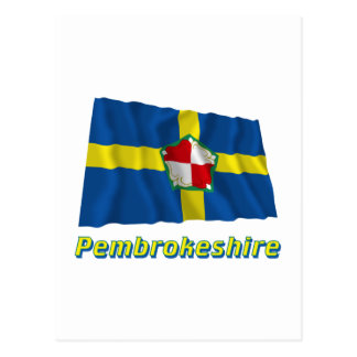 Pembrokeshire Waving Flag with Name Postcard