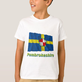 Pembrokeshire Waving Flag with Name T-Shirt