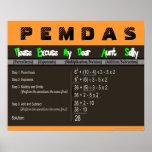 PEMDAS Order of Operations Math Poster