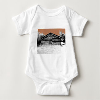 Pen and Ink Abandoned Stable Baby Bodysuit
