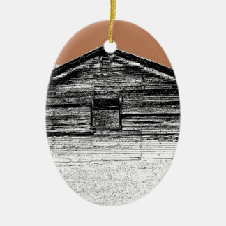 Pen and Ink Abandoned Stable Ceramic Ornament