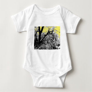 Pen and Ink Branch with Yellow Sky Baby Bodysuit