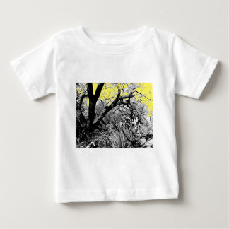 Pen and Ink Branch with Yellow Sky Baby T-Shirt