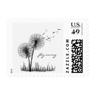 Pen and Ink Dandelion Stamp