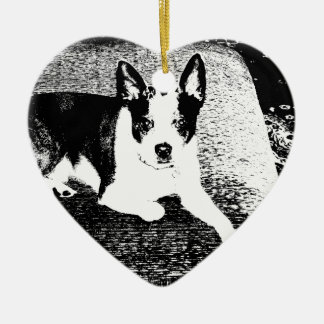 Pen and Ink Dog on Cushion Ceramic Ornament