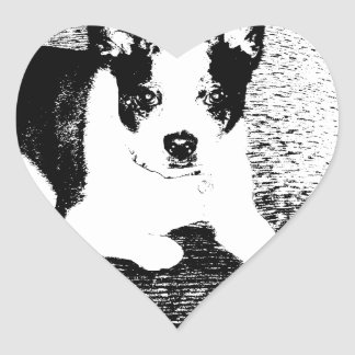 Pen and Ink Dog on Cushion Heart Stickers