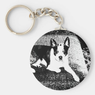Pen and Ink Dog on Cushion Keychain