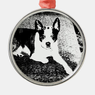 Pen and Ink Dog on Cushion Metal Ornament