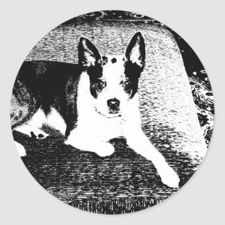 Pen and Ink Dog on Cushion Round Sticker
