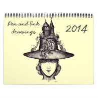 Pen and Ink  drawing art 2014 creative calendar