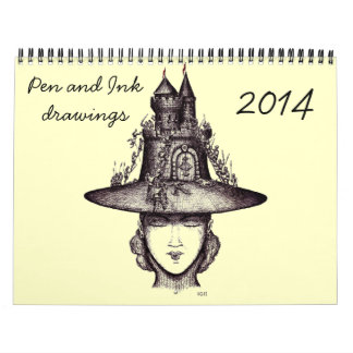 Pen and Ink  drawing art 2014 creative calendar