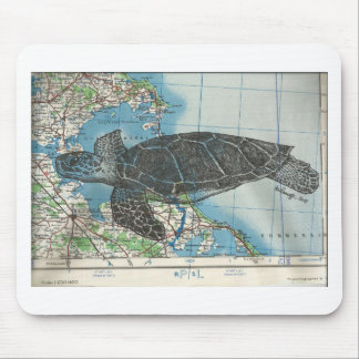 Pen and ink drawing of a turtle over a map mouse pad