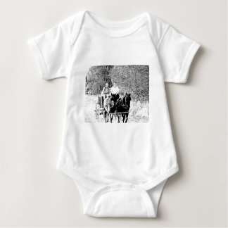Pen and Ink Horse Drawn Wagon Baby Bodysuit