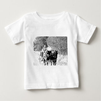 Pen and Ink Horse Drawn Wagon Baby T-Shirt