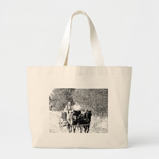 Pen and Ink Horse Drawn Wagon Canvas Bags