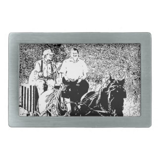 Pen and Ink Horse Drawn Wagon Belt Buckle